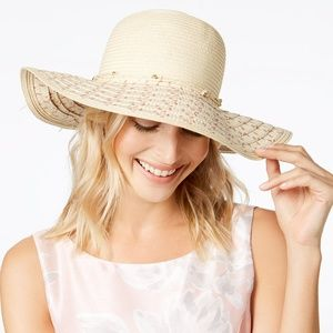 I.N.C IN101874 Wide Brim Beige Women's HAT NATURAL